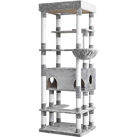NEOLEAD キャットタワー 猫タワー 猫 キャット タワー 猫用品 据え置き 爪とぎ 多頭飼い Sクラス 落下防止柵 大きい猫 頑丈 cat 大型ハンモック付 スタジアム キャットハウス ペット 家族 おしゃれ (ライトグレー)