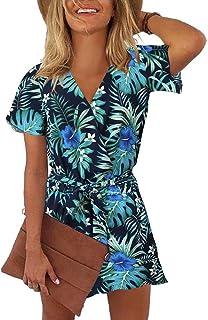REORIA Womens Summer V Neck Ruffles Short Sleeve Belted...