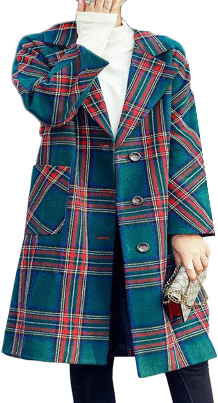 XiaoTianXinWomen XTX Women's Autumn Winter Plaid Single Breasted Woolen Lapel Trench Overcoat