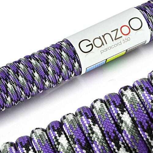 Ganzoo, corda di sopravvivenza Paracord 550, per uso universale, in nylon resistente agli strappi, carico di rottura 250kg, lunghezza totale 31m, colore viola, nero e bianco