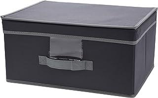 Boîte de rangement pliable avec couvercle et poignée pour penderie, vêtements, livres, cosmétiques, jouets, gris (39 x 29 ...