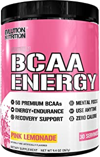 Evlution Nutrition BCAA Energy - High Performance Amino Acid Supplement for Anytime Energy, Muscle Building, Recovery and Endurance, Pre Workout, Post Workout (Pink Lemonade, 30 Servings)