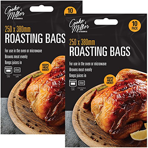 20x Large Roasting Bags 250mm x 380mm Oven & Microwave Safe for Juicy Meat Chicken Turkey Fish Vegetables
