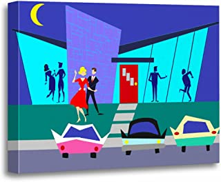 TORASS Canvas Wall Art Print Couple Retro Open Party Dancing The Cha 1960S Artwork for Home Decor 16