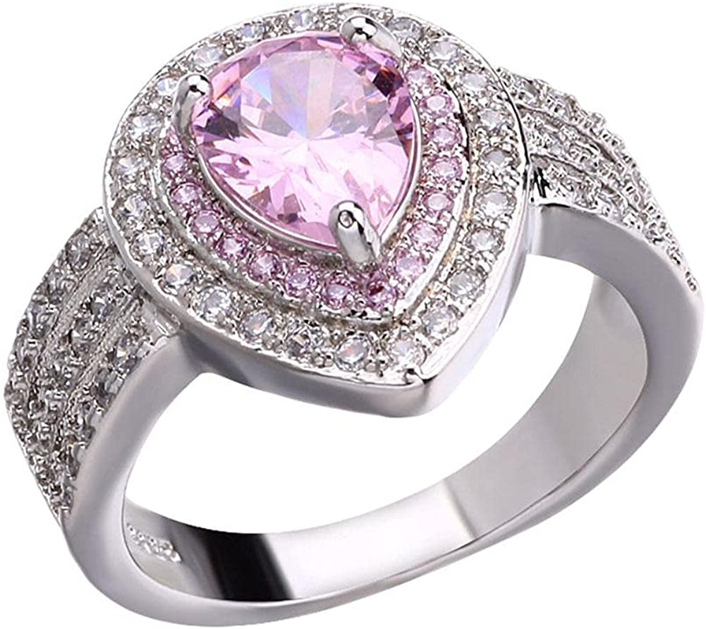 Mail order cheap Pink Heart Shape Gemstone Rings Women Cubic Simulat Fees free!! for Zirconia