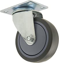 TPR Rubber Caster Wheel with Swiveling Top Plate - 4-Inch - 250 lb. Load Capacity - Non-Marking for Use in Hospitals, Food Service, & Other Institutional Applications