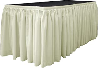 LA Linen Polyester Poplin Pleated Table Skirt with 10 Large Clips, 17-Feet by 29-Inch, Ivory