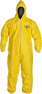 DuPont Tychem 2000 QC127S Disposable Chemical Resistant Coverall with Hood, Elastic Cuff and Serged Seams, Yellow Large (Retail Pack of 1)