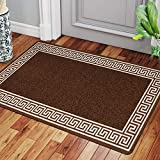 Renoazul Door Mat Outdoor Heavy Utility Kitchen Mats Non-Slip Washable Dirt Trapper Floor Covering Bedroom Decor Soft Floor Mats Gym Yoga Large Mats | 50 x 80 cm - Greeky Brown & Beige