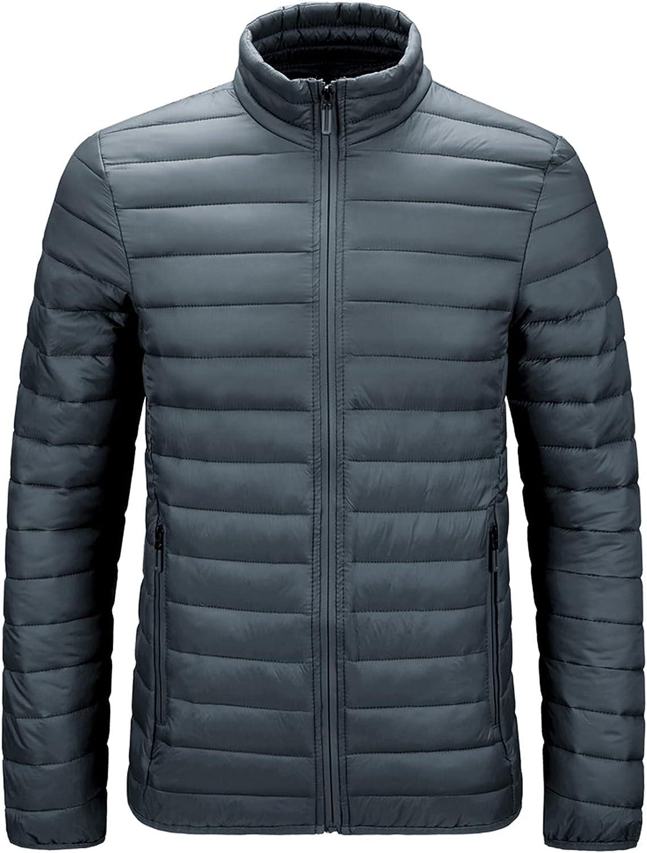 PEHMEA Men's Lightweight Water-Resistant Puffer Jacket Casual Stand Collar Insulated Down Alternative Outerwear Coat