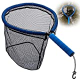 Goture Floating Fishing Net, Portable Wading Net with Detachable EVA Handle, Non-snag Rubber Coating Fishing Net for Fly Fishing, Wading Fishing, Kayak Fishing