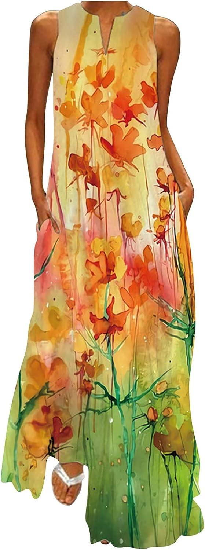 NLLSHGJ Women Sleeveless Floral Print V-Neck Maxi Dress Summer Party Cami Long Casual Dress