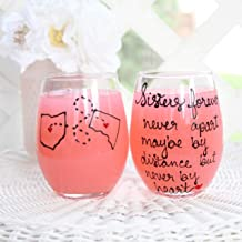 Wine Glass For Sisters | Long Distance State Wine Glass | Birthday Gift | Choose Your States, Countries or Providence | Pick Stemmed or Stemless