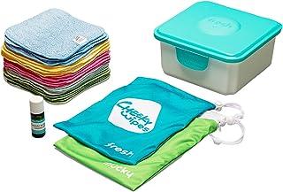 Cheeky Wipes Zestaw do wielokrotnego użytku rąk i twarzy – 25 zmywalnych chusteczek dla niemowląt z mikrowłókien tęczowych...