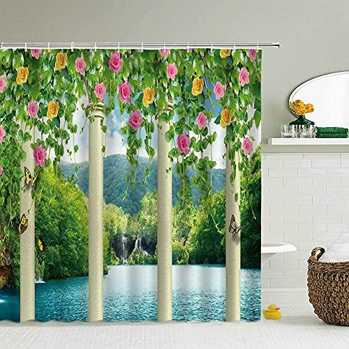 Flores idílicas Cortinas de Ducha Cortina de baño de Pared Vieja Decoración de Tela Impermeable con Gancho Cortina de baño S.8 200x200cm