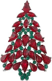 Women's Party Austrian Crystal Christmas Tree Teardrop Brooch Pin