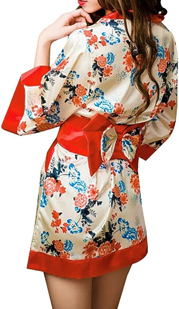 Women's Kimono Sakura Floral Print Short Cosplay Traditional Jap