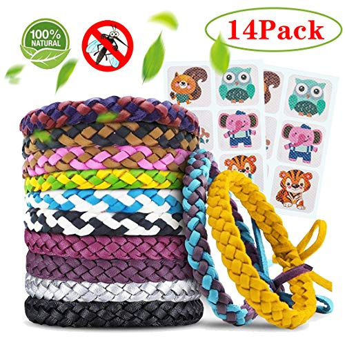 Braccialetti Antizanzare 12Pcs e Patch Repellenti 2Pcs, Set Repellente per Zanzare Repellenti Outdoor Indoor per Bambini, Adulti, Uomini e Donne Cerotti Antizanzare Neonati