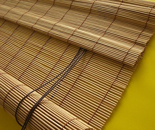 deko-raumshop Bambusrollo Faltrollo Rollo Kirschbaum Breite 60 bis 140 cm Schnurzugrollo Vorhang Wandmontage Deckenmontage Blickdicht geflochtene Stächchen Naturmaterialien Bambus Holz (140 x 160 cm)