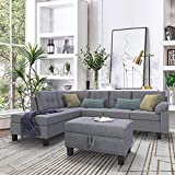 Romatlink Linen-Like Polyfabric Left or Right Hand Chaise Sectional Set Lounge and Storage Nail Head Detail Sectional Chaise and Ottoman 3-Piece Sofa for Living Room Furniture(Grey)