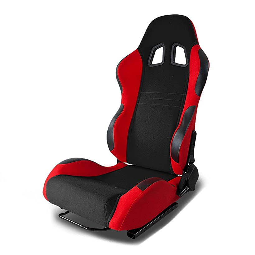 Full Reclinable Black and Red Cloth Type-7 Racing Seat+Adjustable Slider (Left)
