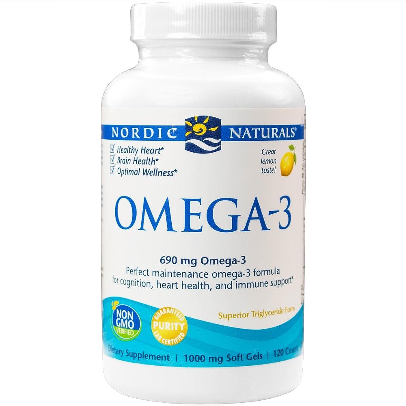 扱う目に見える遠足海外直送品Omega-3, 1000 mg, Lemon 120 softgels by Nordic Naturals