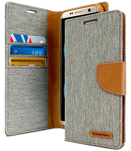 Goospery Canvas Wallet für Samsung Galaxy S8 Hülle (2017) Denim Stand Flip Cover (Grau) S8-CAN-Gry