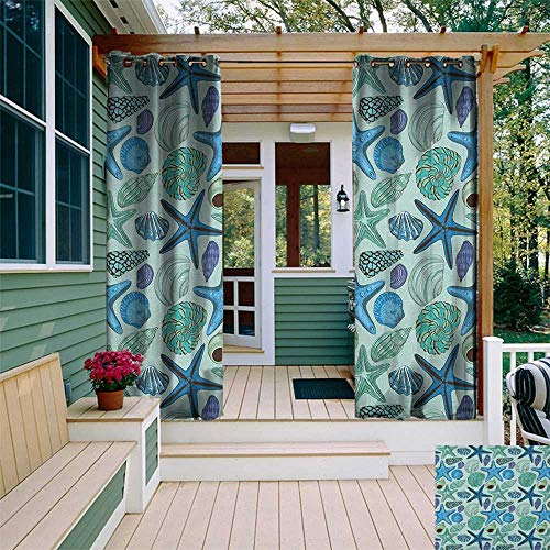 leinuoyi Starfish, Porch Curtains Outdoor Waterproof, Aquarium Inspired Composition Tropical Seashells and Scallops Cockles and Clams, for Gazebo W72 x L96 Inch Multicolor