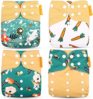 HahaGo 4PCS Baby Cloth Diaper Washable Reusable Diapers Insert All-in-One Pocket Nappy for Most Babies and Toddlers (Rabbi...