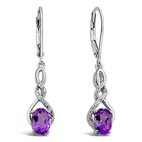 0e7ada50d Amethyst Earrings Diamond Accent in Rhodium Plated Sterling Silver