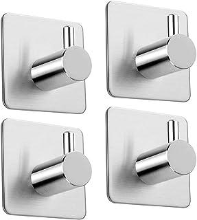 Lifexau AU-HI-RTH-A Bathrooms Lavatory Closets 4 Pack of Self Adhesive Hooks, Max 8 Kgs Towel Rail, Hat Towel Robe Coat St...
