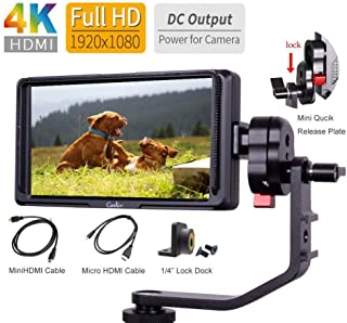 5 inch Peaking Focus Assist on Camera Field Video Monitor IPS Screen with 4K HDMI Loop Through and 8.4V DC Input Output, CamKoo Ck5 Full HD for Gimbals Without Battery