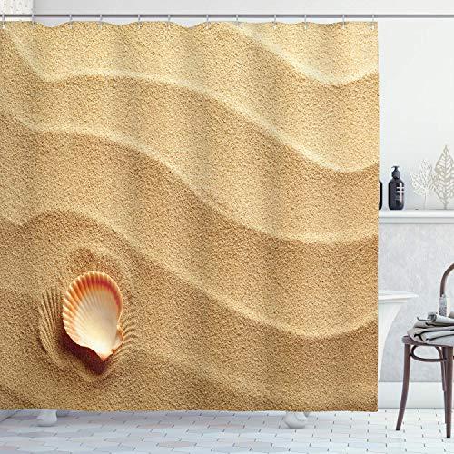 N \ A Muscheln Duschvorhang, kleine Muschel auf goldenem gelbem Sand Meer Küste Thema Strand Kunst Druck Stoff Badezimmer Dekor Set mit Haken 152,4 x 182,9 cm, sandbraun