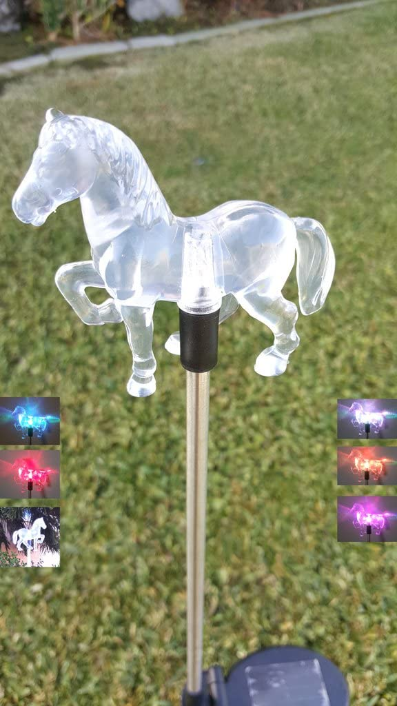 Ntertainment House Set of 1 Solar Garden Stake Lights with Color Changing LED or Regular White LED Landscape Path Lights (1 Piece) (Horse)