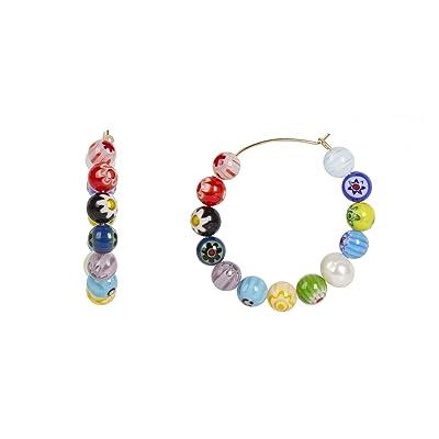 Rebecca Minkoff Rainbow Bead Hoop Earrings (Multi) Earring
