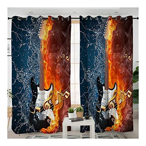 W-L Decoratieve gordijnen 2 stuks basgitaar verduisteringsgordijnen woonkamer gordijnen 3D-print water en brandwerende gordijnen 1 muziekzender (grootte: W100xH200cm)