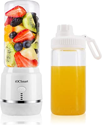 iOCSmart Portable Blender USB Rechargeable, Wireless Electric Personal Juicer Blender for Shakes and Smoothie with 2 Juicer Cup Travel Bottle, 4000mAh High Capacity Batteries (White)