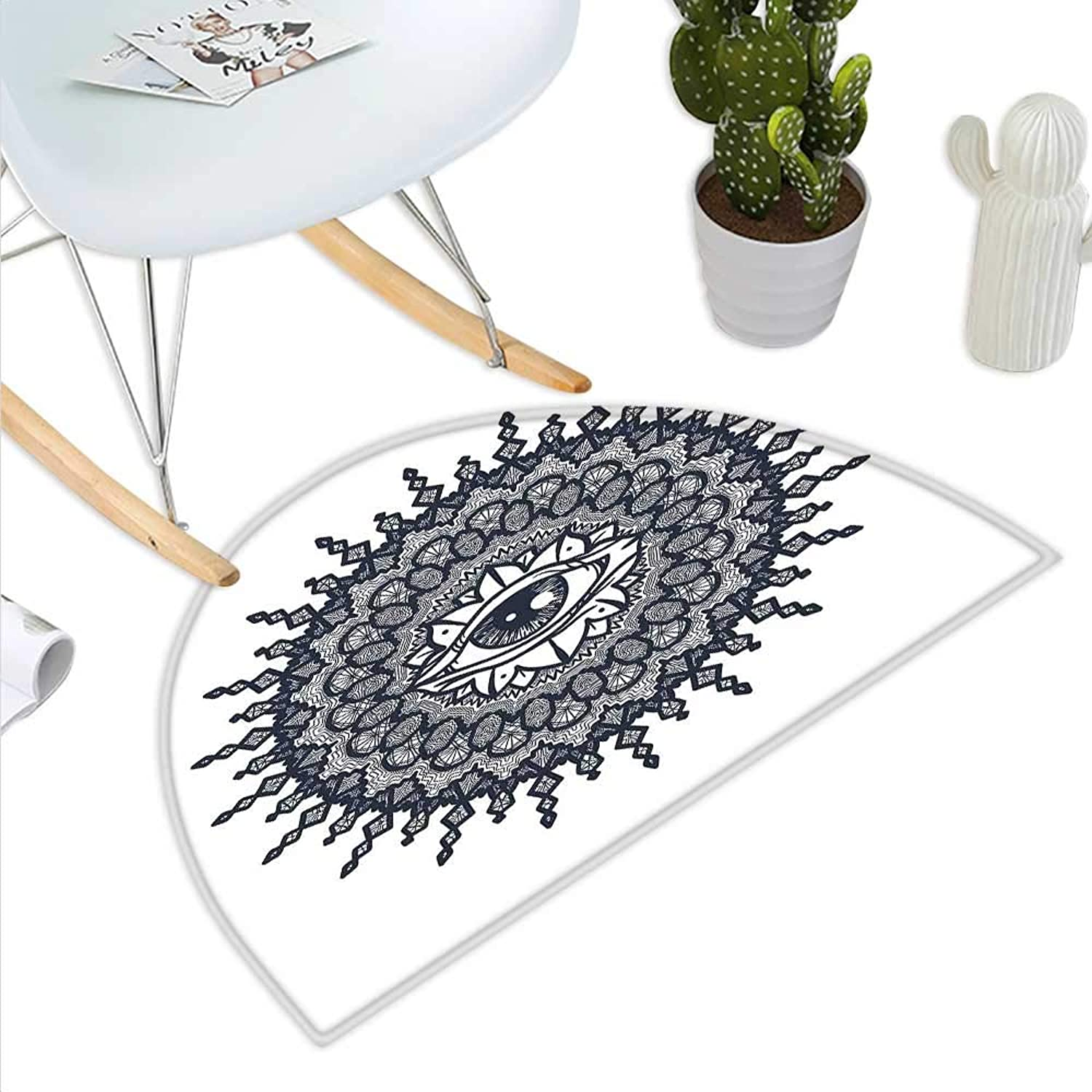 Occult Semicircle Doormat Traditional Abstract Round Mandala Motif Eye in Middle Secret Sight Occult Image Halfmoon doormats H 47.2  xD 70.8  Grey White