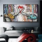 Arte de Graffiti moderno pareja elefante nariz amor corazón carteles e impresiones lienzo pintura impresión arte de pared para sala de estar decoración del hogar 35x70 CM (sin marco)