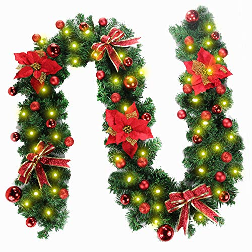 Morbuy Christmas Garland Decorations, 2.7M Fireplaces Stairs Decorated Garlands 8 Mode Wreath LED Lights Illuminated Baubles Flower Ball Xmas Tree Festive Décor (Red)