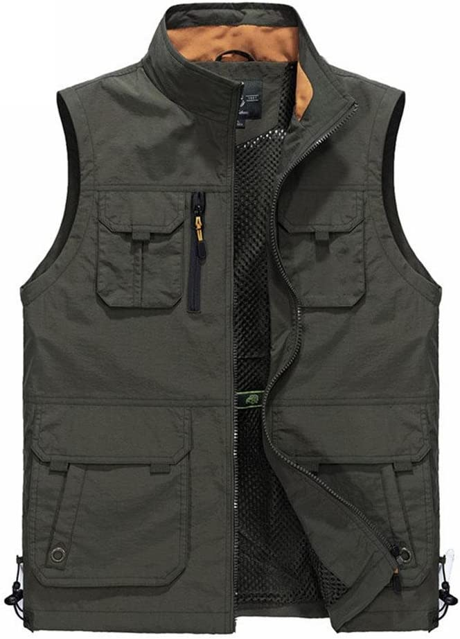 YANXH Mens Multi Pockets Vest Outdoor Leisure Photography Fishing Gilet, Army Green, 5XL