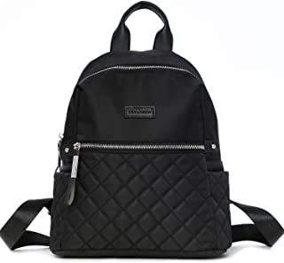 Lily & Drew Nylon Casual Travel Mini Backpack Purse, Quilted, Small Black (Black) - BP180019-B