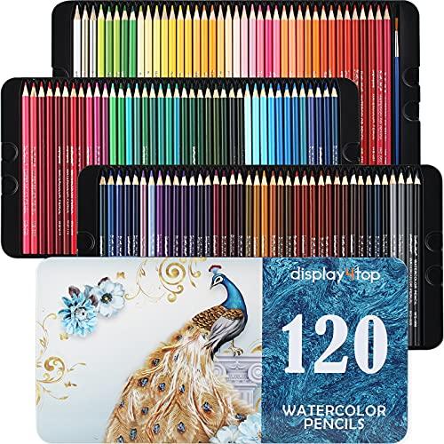 Display4top Professionelle Aquarellstifte, Aquarell Buntstifte Set für Künstler, Erwachsene und Kinder,Premium Künstlermine mit lebendigen Farben und schönen Mischeffekten mit Wasser (120)