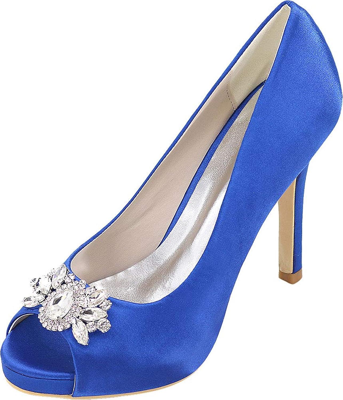 Womens Slip On Rhinstone Heeled Dress Pump Bride Bridesmaid Court Prom 6041-02B bluee US Size7.5