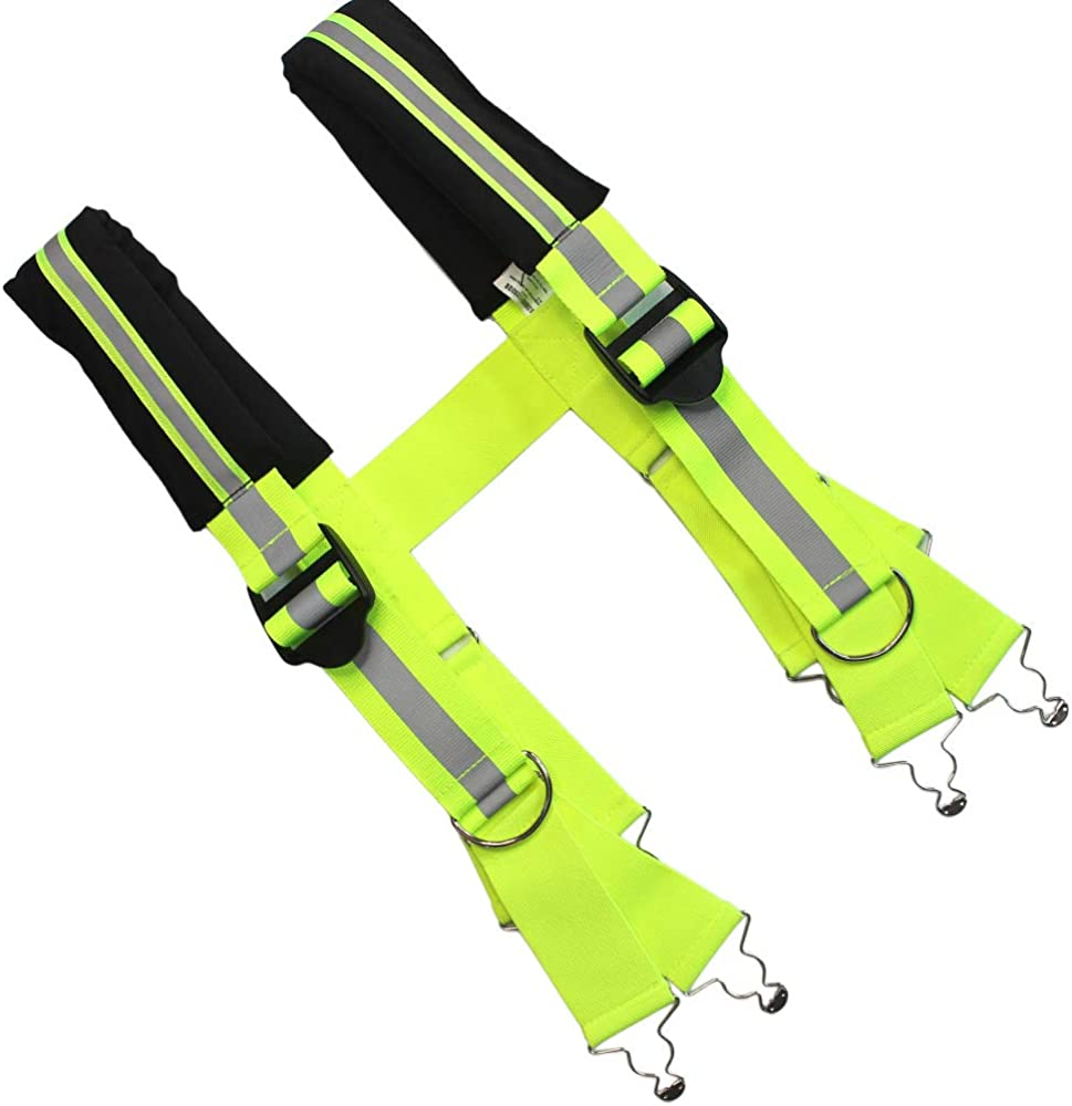 Firefighter Pant Suspenders Fire/Rescue Quick Adjust Suspenders with Reflective Strip (Black Lime Reflective)
