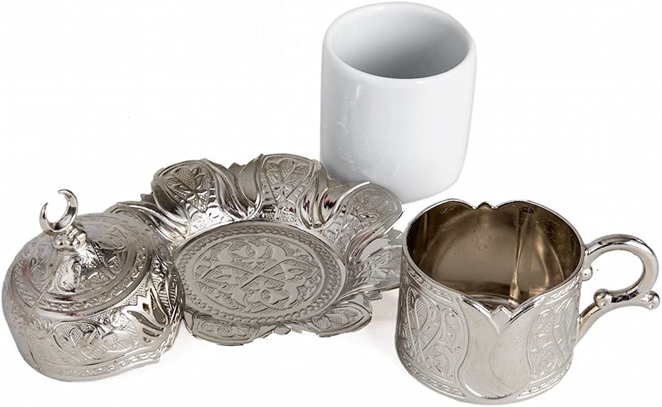 Demmex Turkish Coffee Cup With Inner Porcelain Metal Holder Saucer And Lid 4 Pieces Silver Tulip