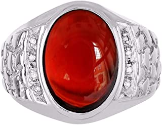 RYLOS 14K White Gold Nugget Ring with Oval Shape Cabochon Gemstone & Genuine Sparkling Diamonds