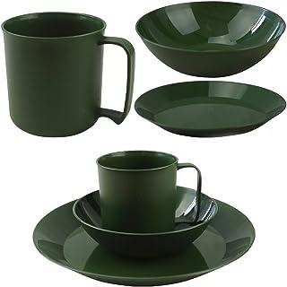 Camping Cadet Festival Green Plastic Plate Bowl Mug Army Combat Military Set New