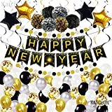 Huge New Years Eve Party Supplies 2021 Kit - Happy New Year Banner Sign and gold Confetti Balloons | New Years Eve Party Supplies 2021 | Happy New Year Party Decorations 2021 | NYE Decorations 2021