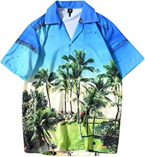 SPE969 Men's Casaul Printed Short Sleeve Shirt, Button Down Summer Shirts Casual Beach Tops Loose Casual Blouse